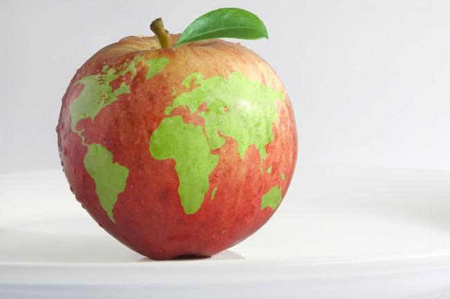 Apfel, dessen Schale im Muster einer Weltkarte ausgeschnitten wurde