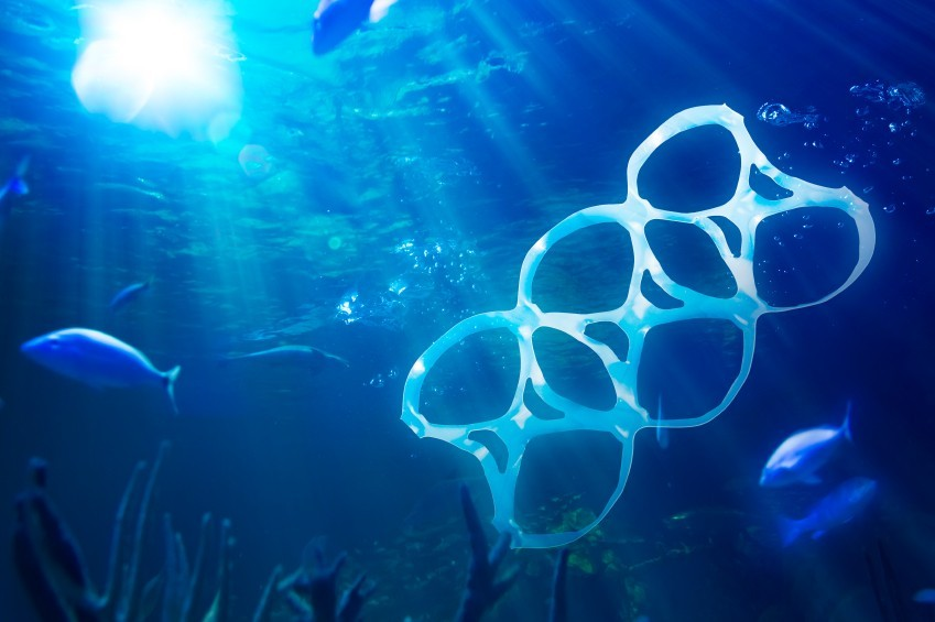 sea polluted with plastic garbage