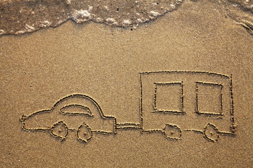 Campingwagen im Sand