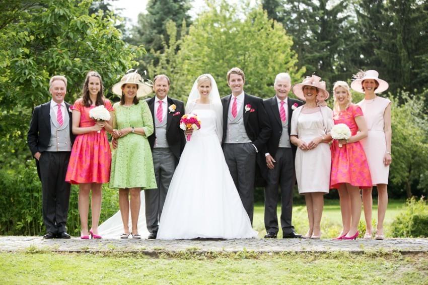 Das Brautpaar und der engste Verwandtenkreis als Einheit.