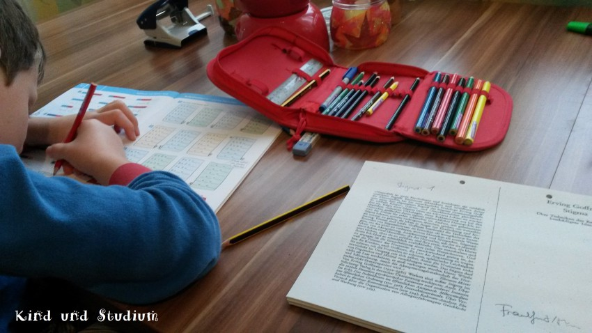 Jennys Sohn bei den Hausaufgaben