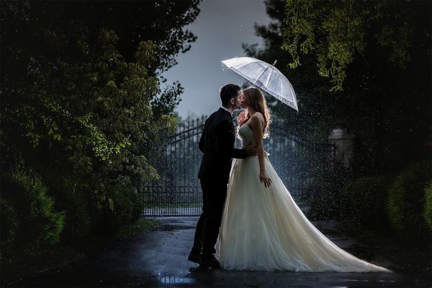 Hochzeitsinspiration-Brautpaarshooting im Regen
