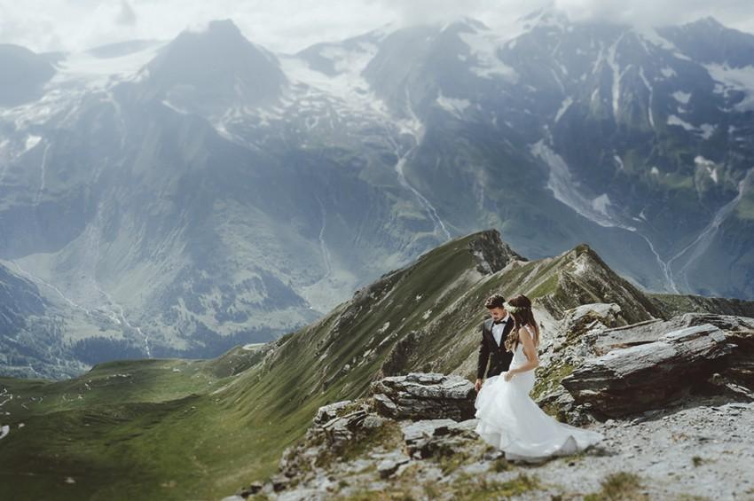 Hochzeitsinspiration-Brautpaarshooting in den Alpen