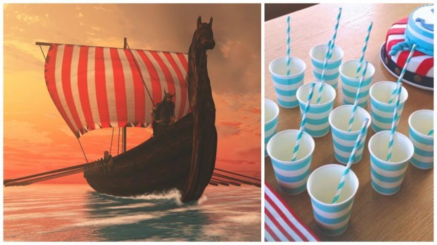 Die Streifen auf den Partybechern erinnern an die Segel der berühmt-berüchtigten Wikingerschiffe.