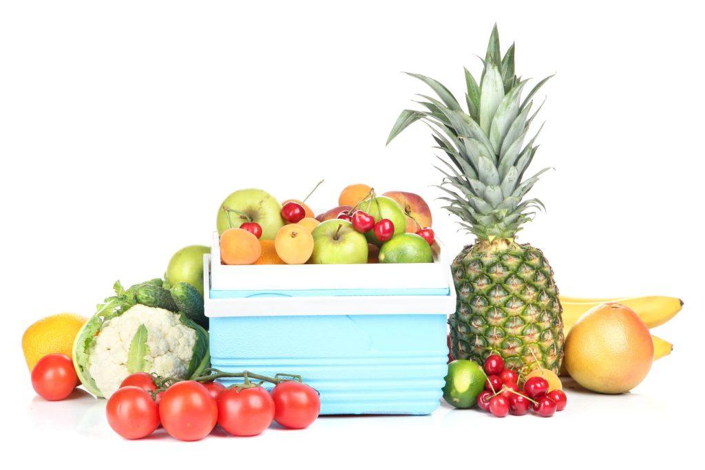 kompressor-kuehlbox mit Obst