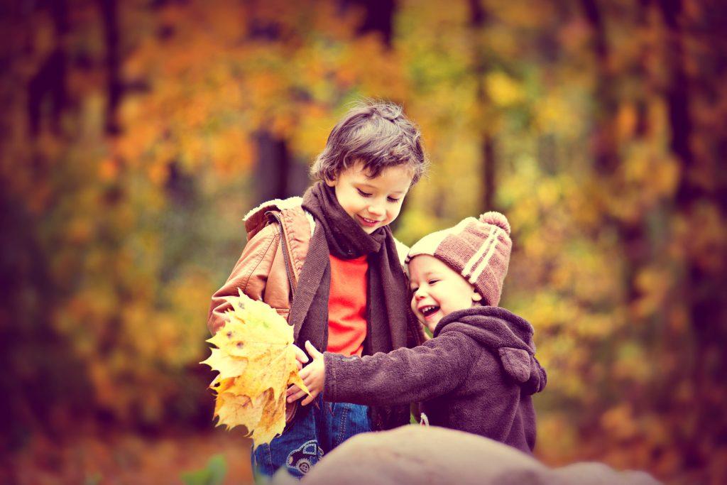 Herbst-kind-wald